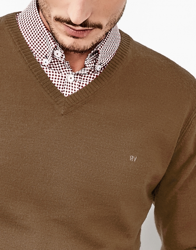 Camel V-neck sweater