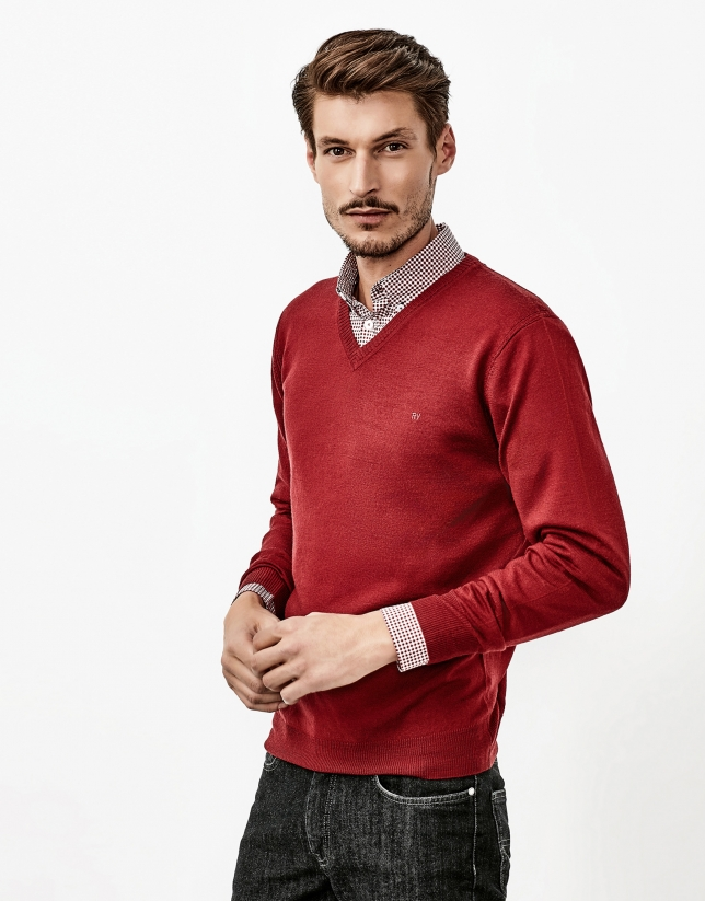 Burgundy V-neck sweater
