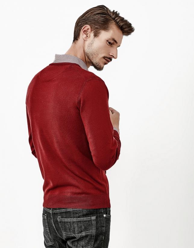 Burgundy V-neck sweater