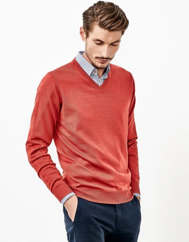 Orange V-neck sweater