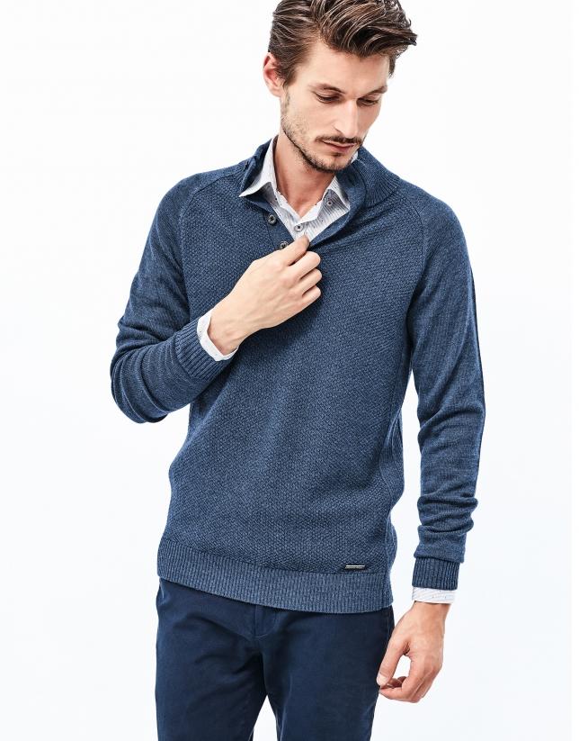 Pull bleu en laine