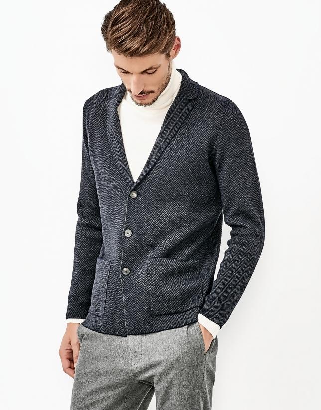 Chaqueta lana merino azul