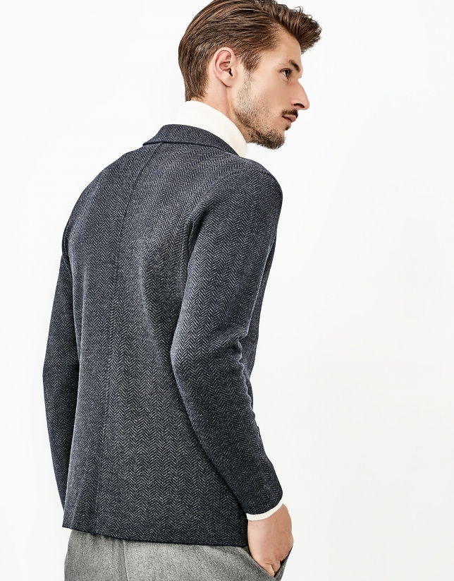 Blue merino wool jacket