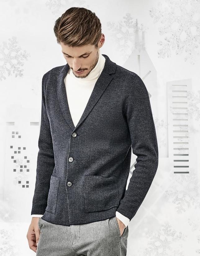 Gilet en laine de mérinos bleu