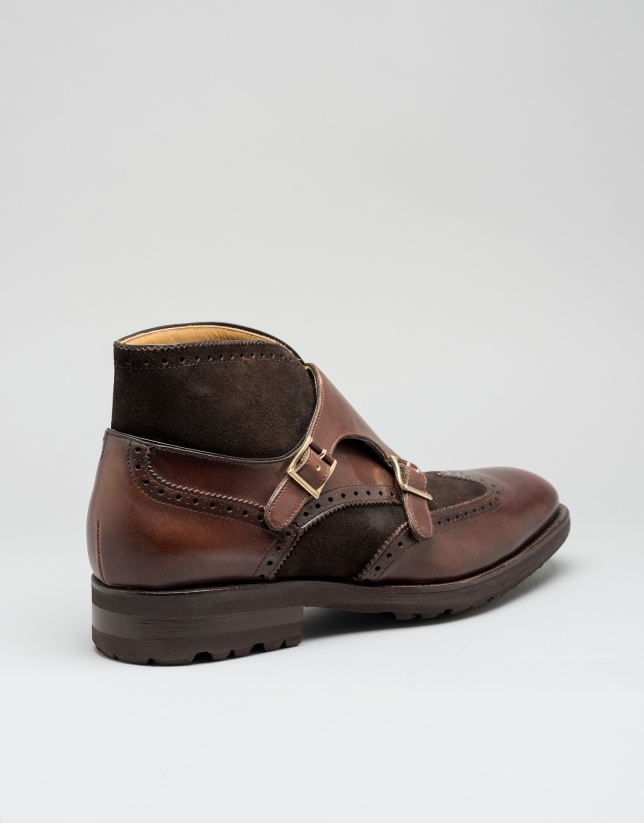Brown Monk ankle boots with two buckles