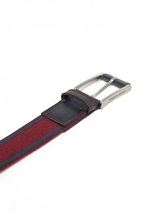 Cinturón combinado azul y rojo