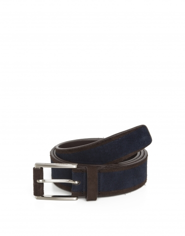 Navy split leather belt