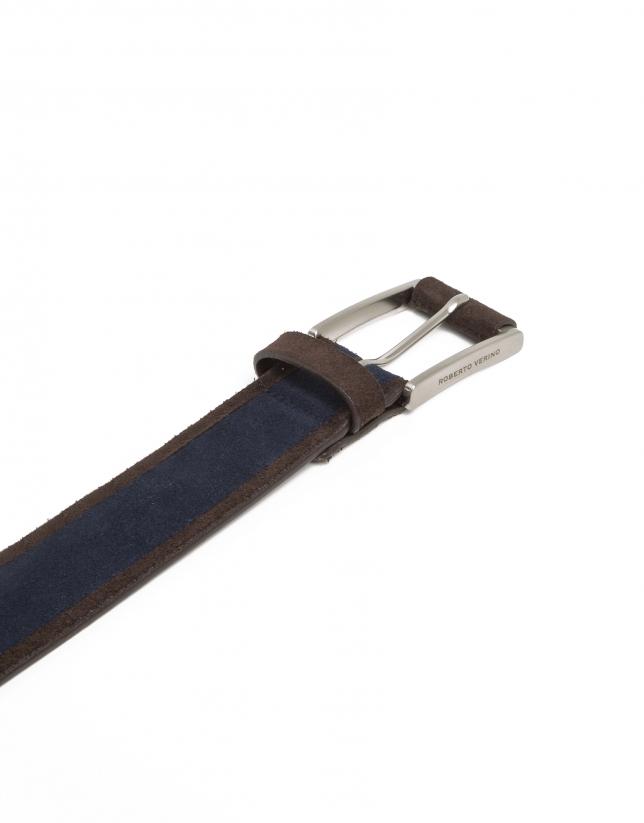 Navy split leather belt