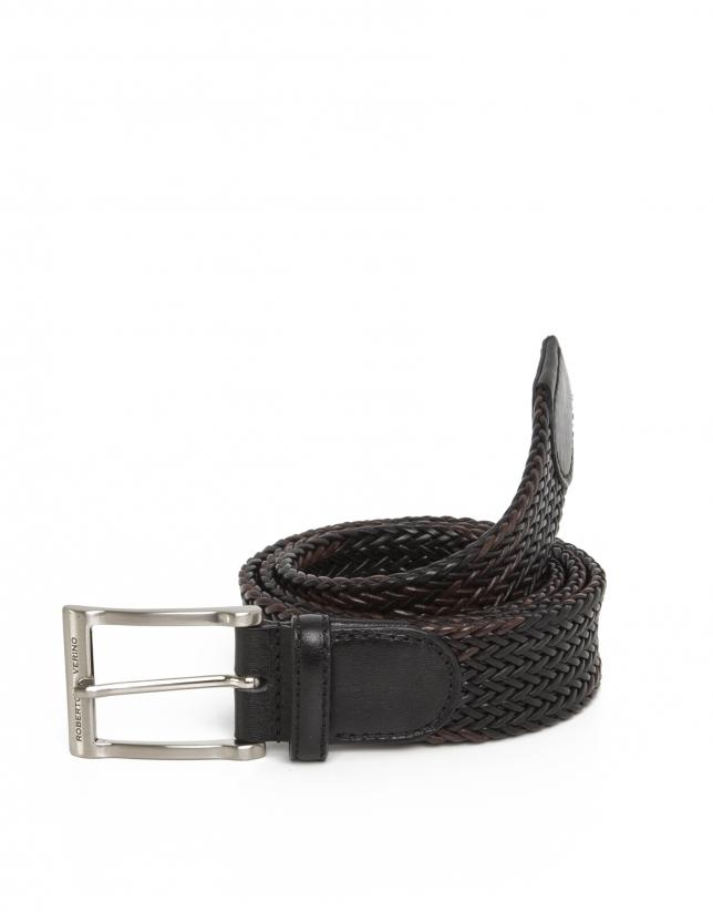 Cinturón trenzado negro y marrón oscuro