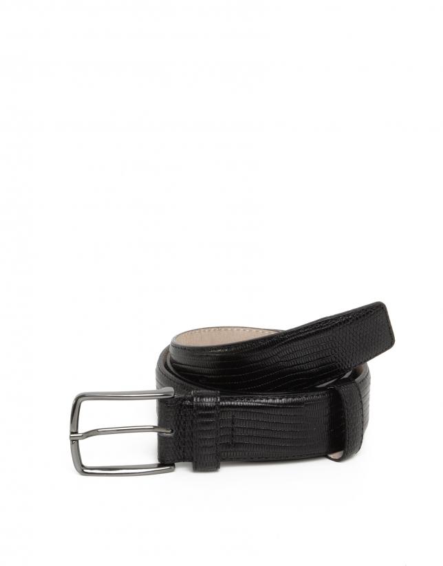 Cinturón grabado exótico negro