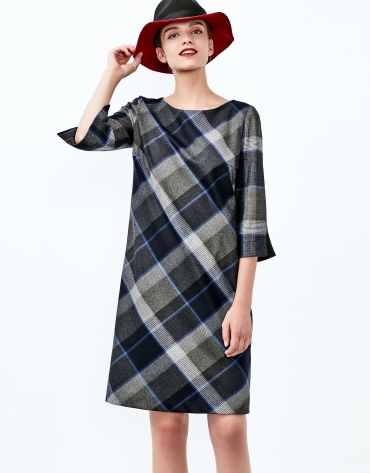Blue checked long sleeve dress