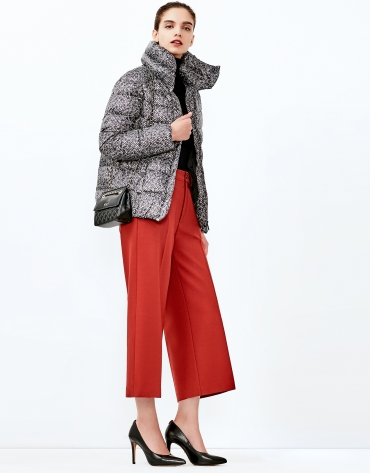 Brown print short ski jacket