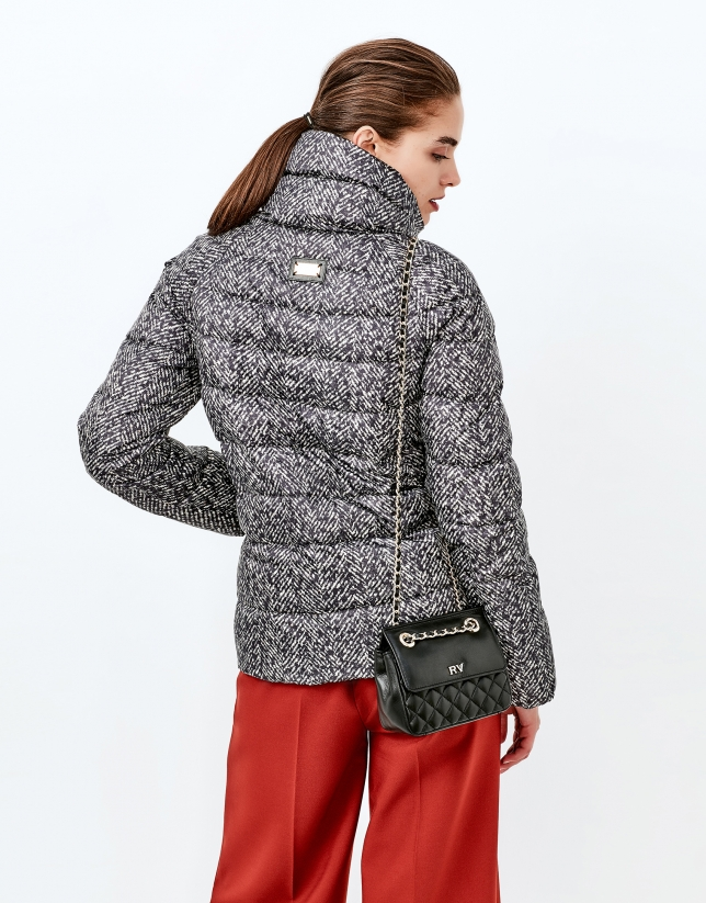 Brown print short ski jacket
