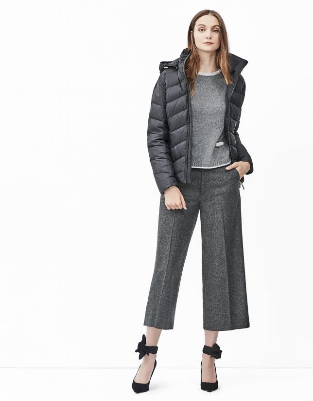 Black short hooded ski jacket