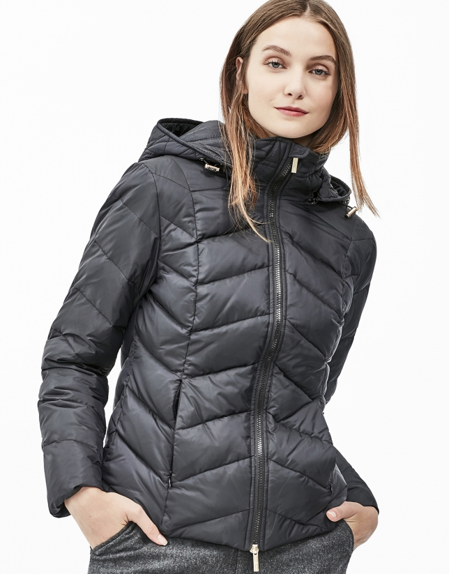 Black short hooded ski jacket