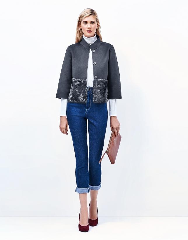 Grey jacket with Mao collar
