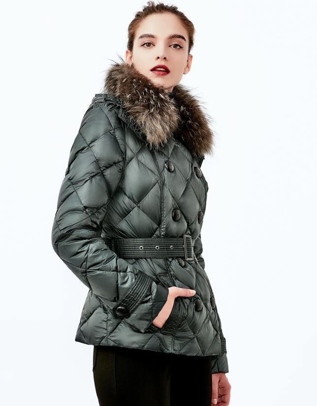 Green hooded ski jacket