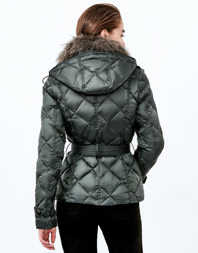 Green hooded ski jacket