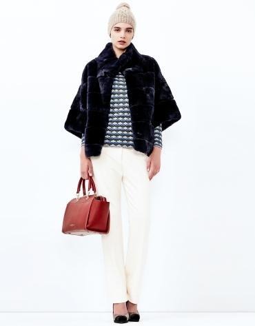 Blue fur short jacket