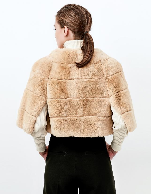 Beige fur short cape
