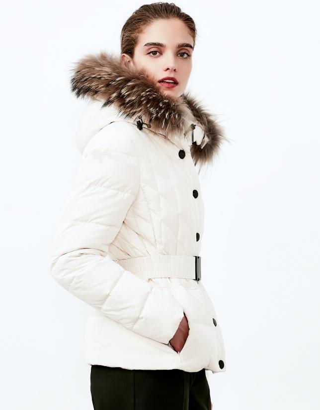 Off white hooded ski jacket