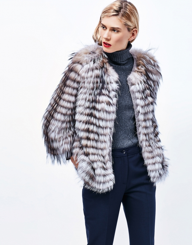 Fox fur short jacket