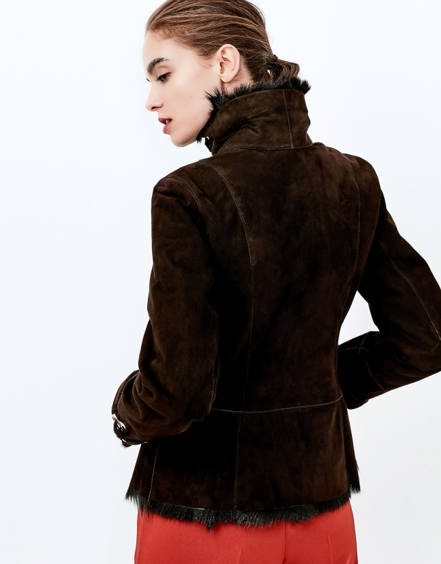 Cazadora piel caprina marrón
