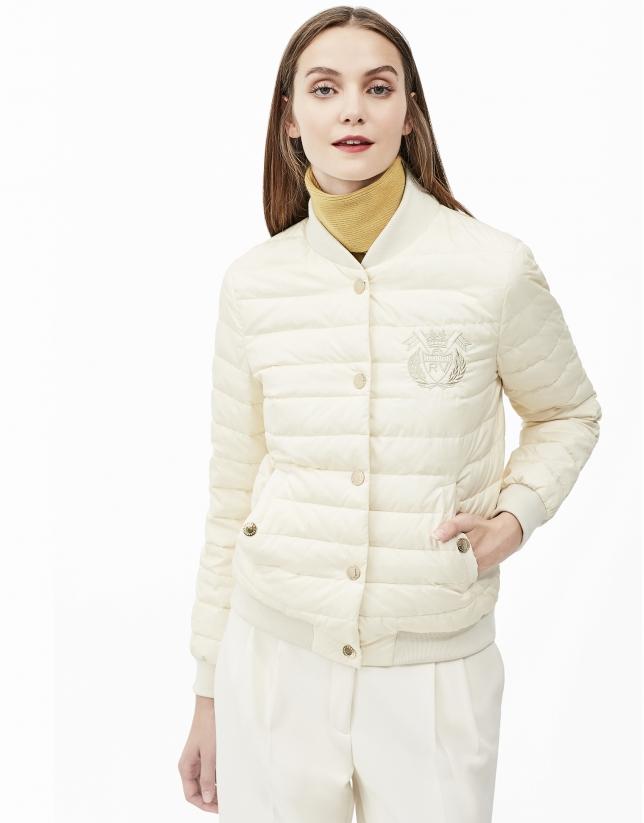 Beige quilted bomber jacket