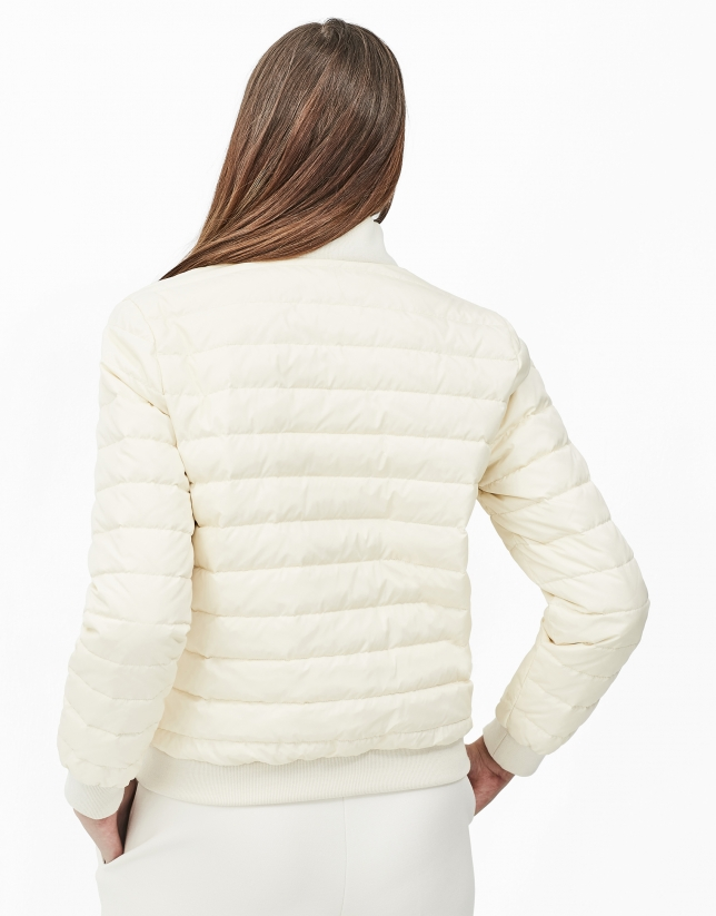 Beige quilted bomber jacket