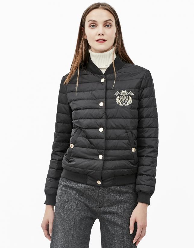 Black quilted bomber jacket