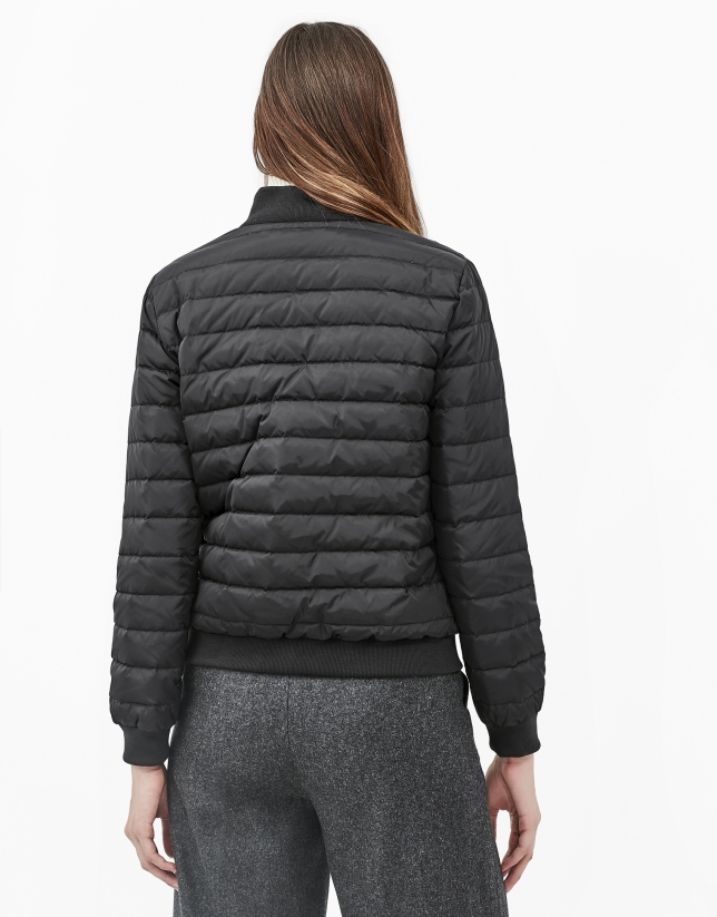 Black quilted bomber jacket