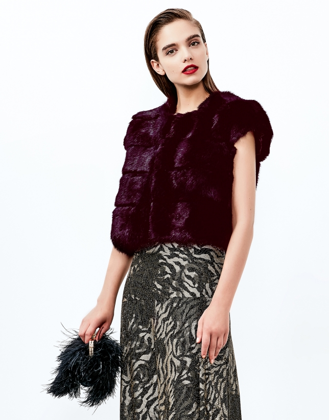 Aubergine short sleeve bolero jacket