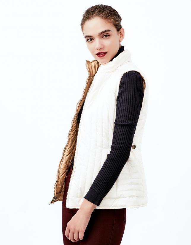 Beige reversible quilted vest