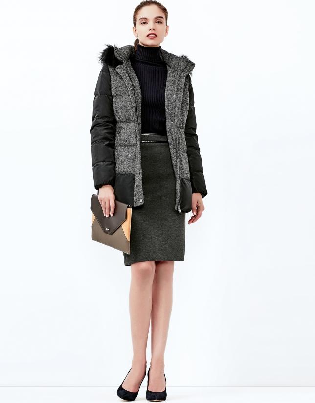 Black hooded ski jacket