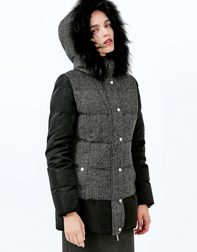 Black hooded ski jacket