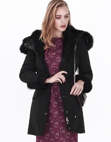 Black long hooded anorak