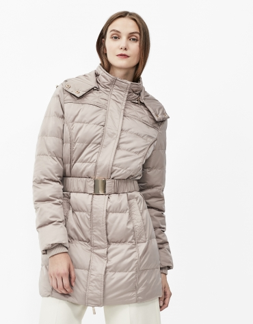 Brown hooded and quilted parka