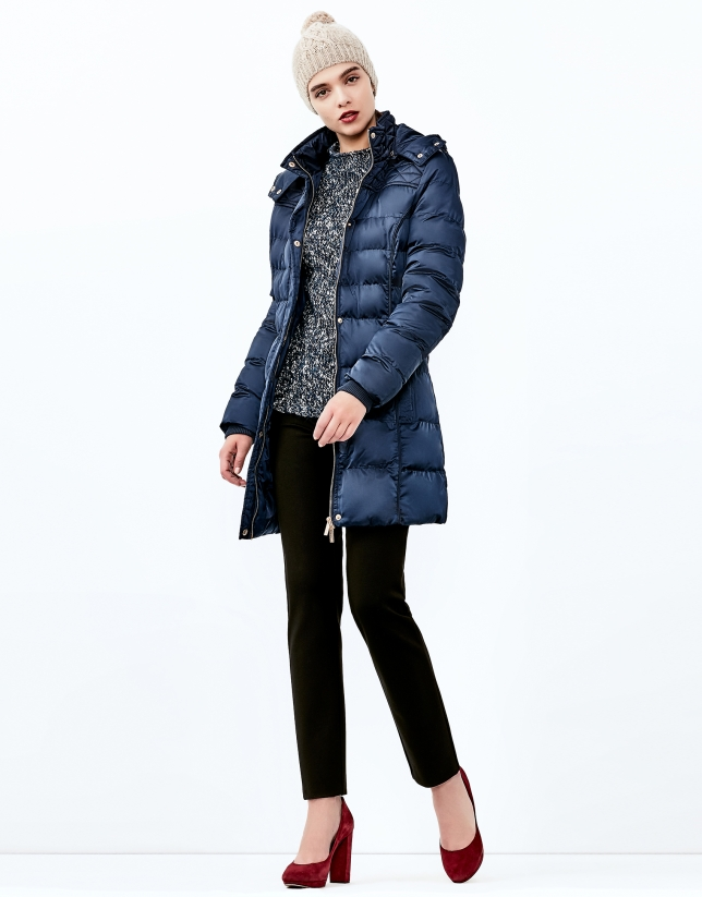Blue hooded and quilted parka