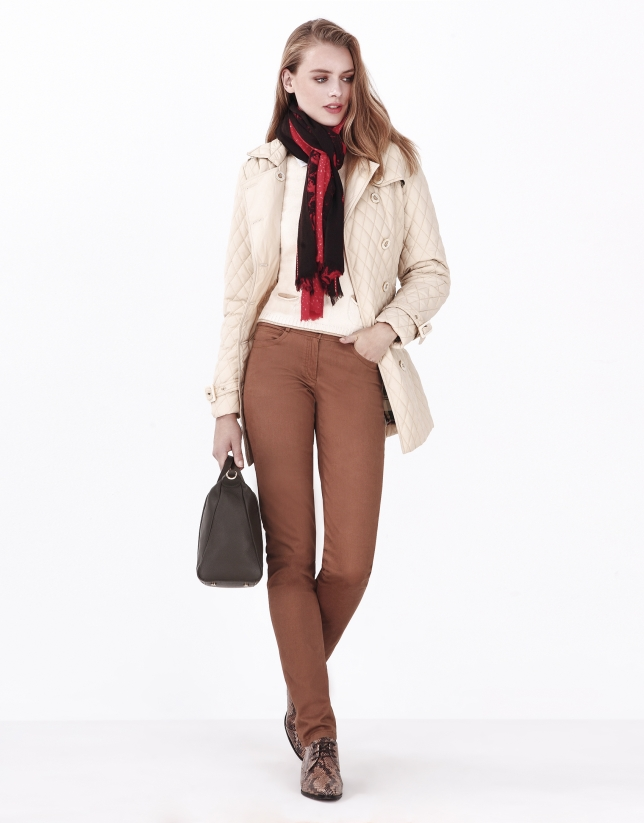 Beige quilted trench coat
