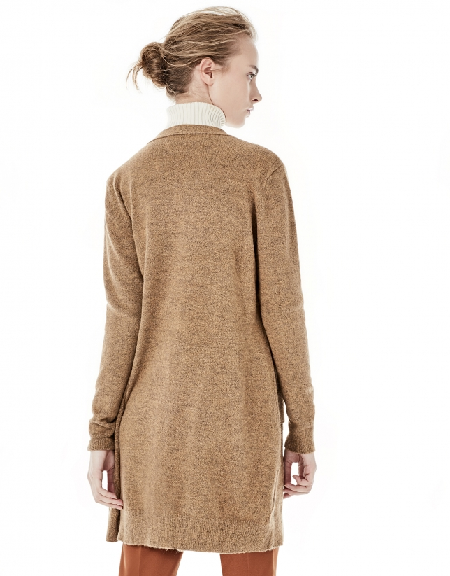 Beige long jacket with pockets