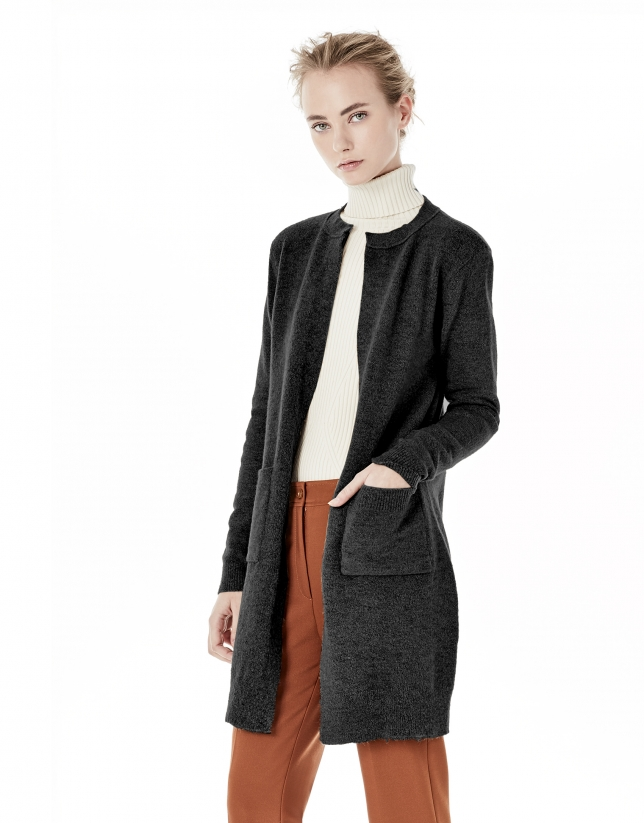 Grey long jacket with pockets