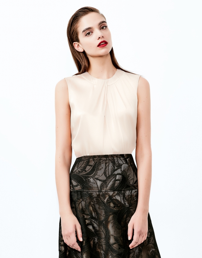 Off white top with decorative folds