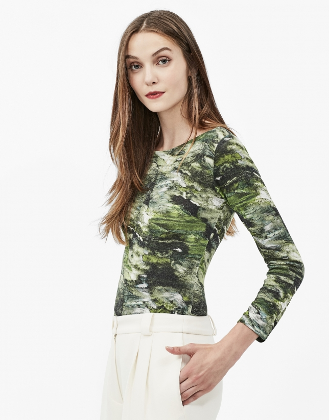 Green print top with boat neck