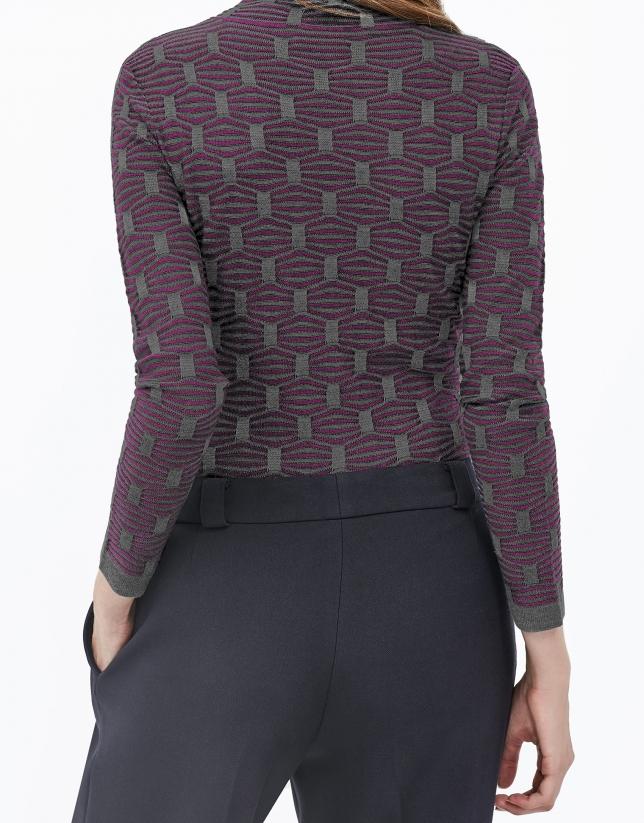 T-shirt fantaisie col cygne fuchsia
