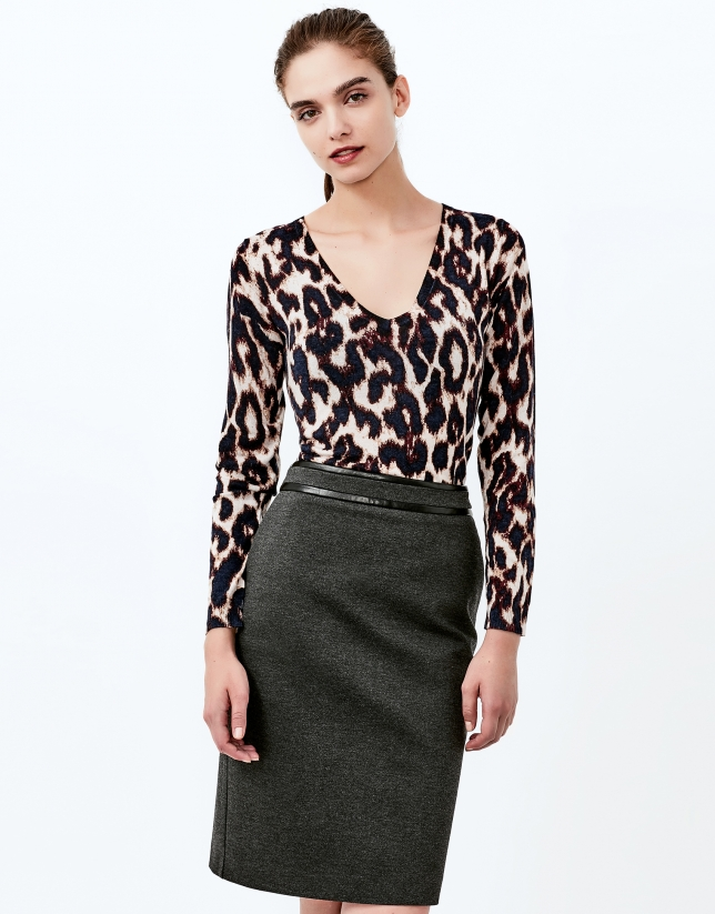 Aubergine animal print top