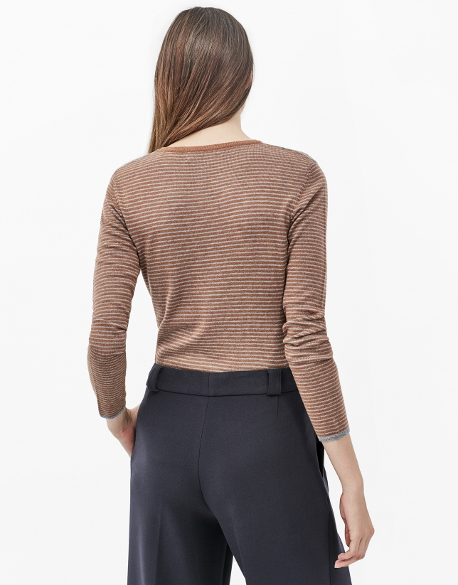 Brick red pinstripe top