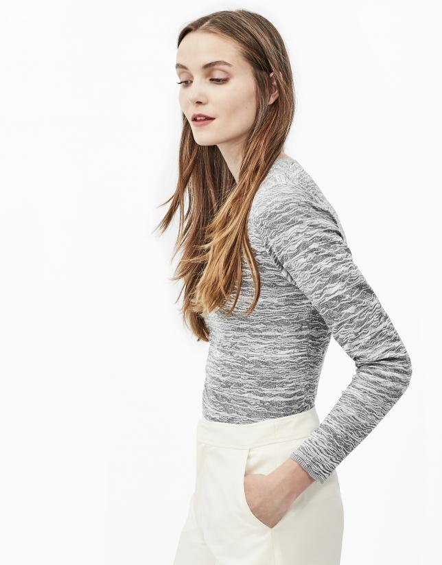 Camiseta zigzag gris