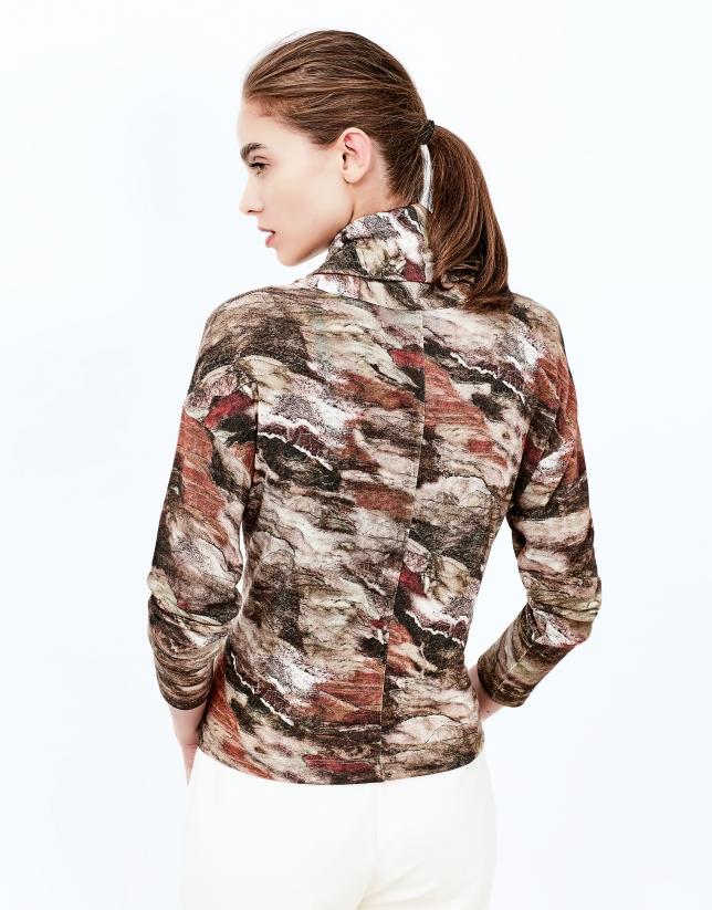 T-shirt col cygne imprimé marron