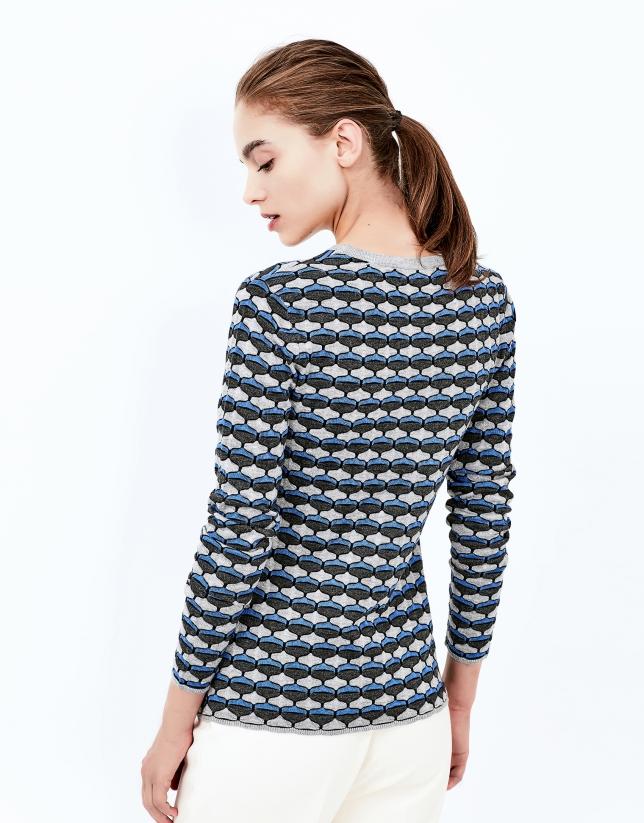 T-shirt en maille fantaisie géométrique bleu