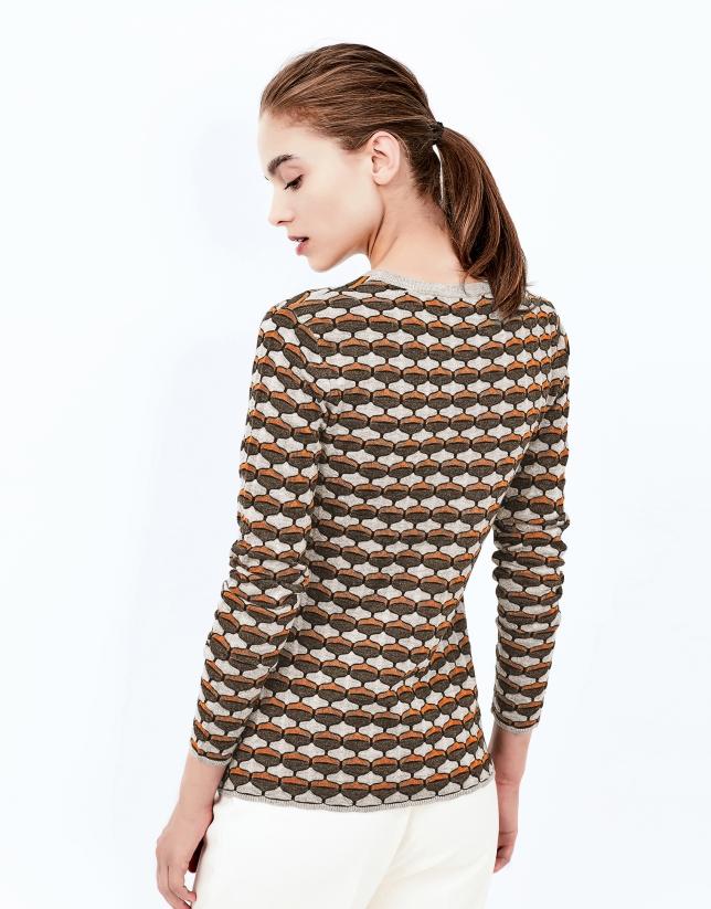 Red brick geometric print knit top
